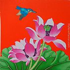 Chinese contemporary art lotus bird